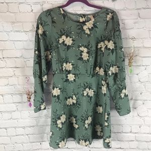 Free People Long Sleeve Green Floral Dress Size 2